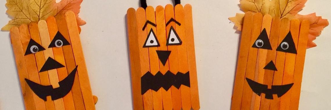 Halloween Knutseltips.Pompoenen Knutselen Van Ijsstokjes Crea Met Kids