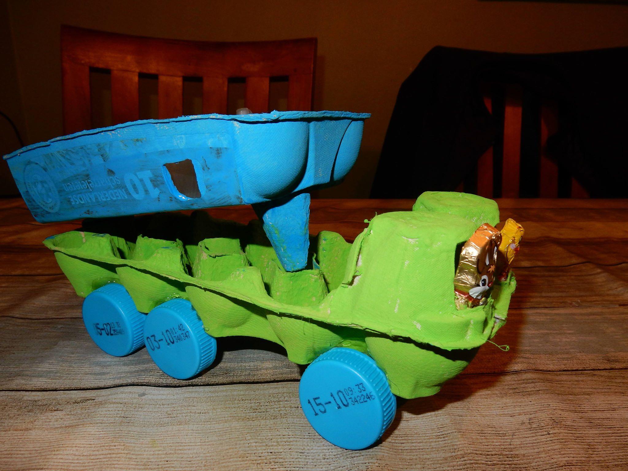 eierdoos knutselen kiep vrachtwagen en trein 187 crea met